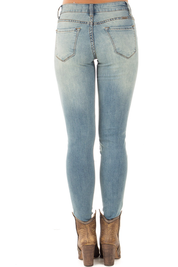 Light Wash Distressed Jeans with Stitched Knee Detail - Lime Lush ...
