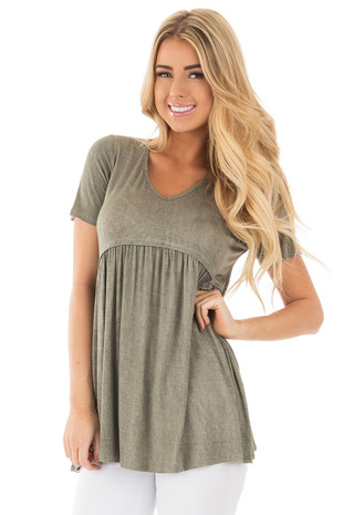 Dusty Olive Solid Mineral Wash Babydoll Top front close up