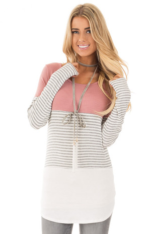 Mauve and White Color Block Top with Grey Striped Sleeves front close up