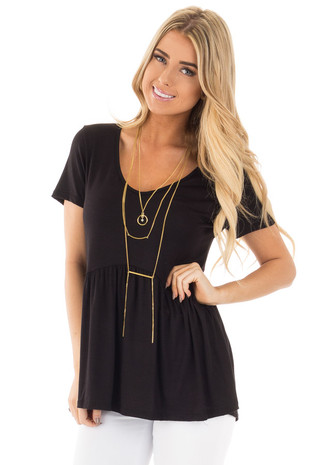 Black V Neck Tee with Gathered Babydoll Waistline front close up