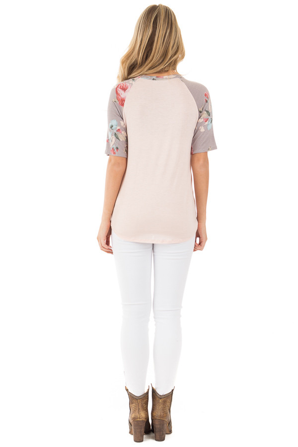 Blush Baseball Tee with Grey and Blush Floral Print Sleeves back full body