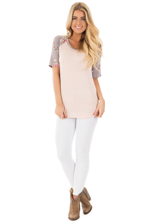 Blush Baseball Tee with Grey and Blush Floral Print Sleeves front full body