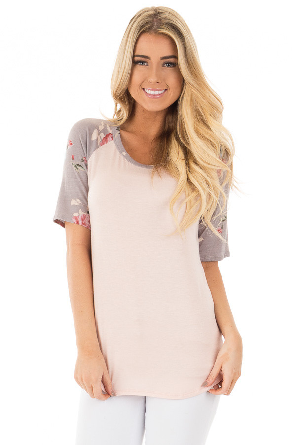 Blush Baseball Tee with Grey and Blush Floral Print Sleeves front close up