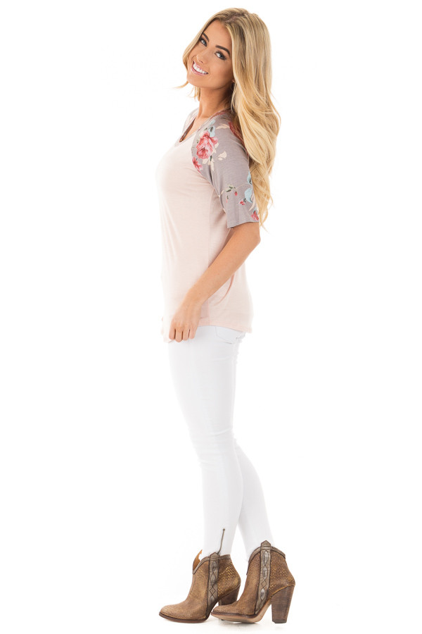 Blush Baseball Tee with Grey and Blush Floral Print Sleeves side full body