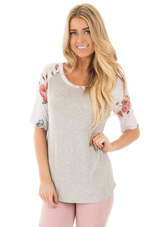 Grey Baseball Tee with Ivory and Blush Floral Print Sleeves front close up