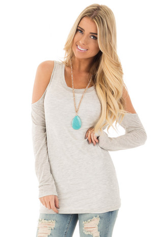 Light Grey Two Tone Cold Shoulder Top front close up