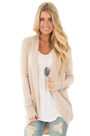 Oatmeal Soft Long Sleeve Open Cardigan front close up