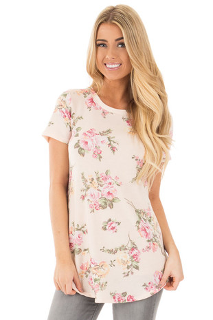 Light Peach Super Soft French Terry Floral Print Tee front close up