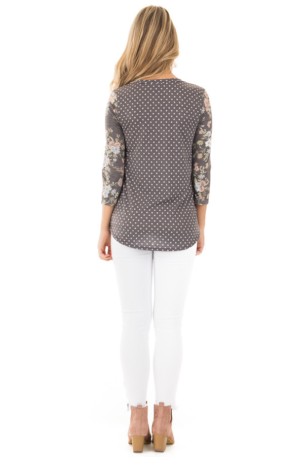 Charcoal Polka Dot Tee with Charcoal Floral Print Sleeves back full body