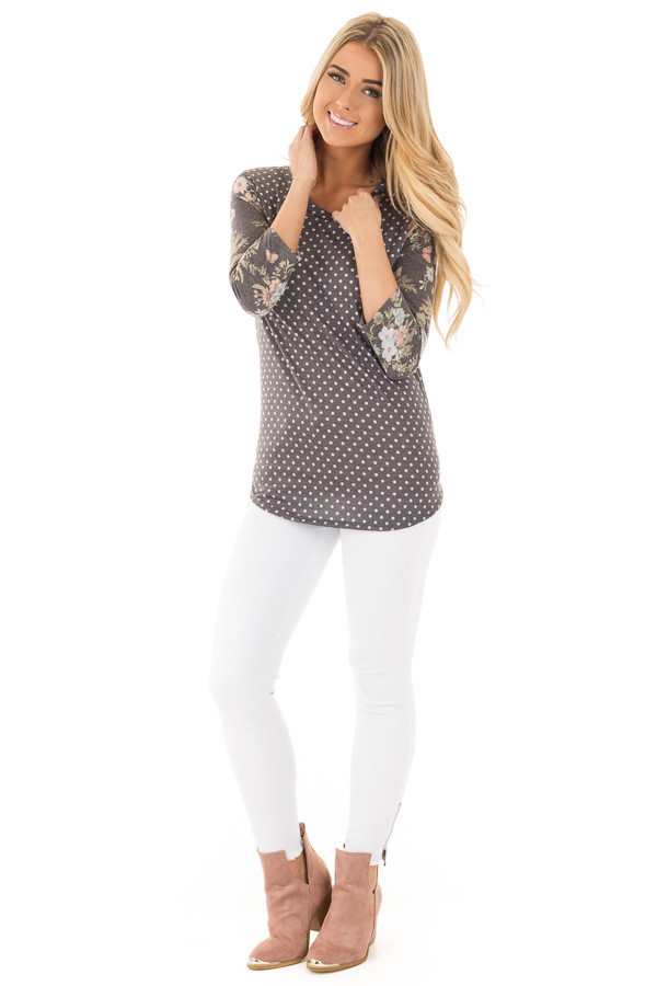 Charcoal Polka Dot Tee with Charcoal Floral Print Sleeves front full body
