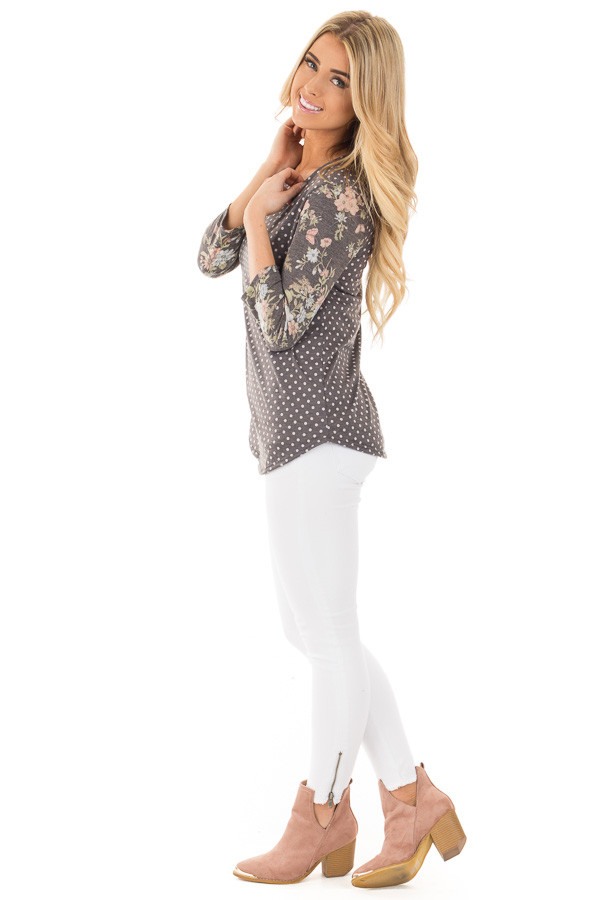 Charcoal Polka Dot Tee with Charcoal Floral Print Sleeves side full body
