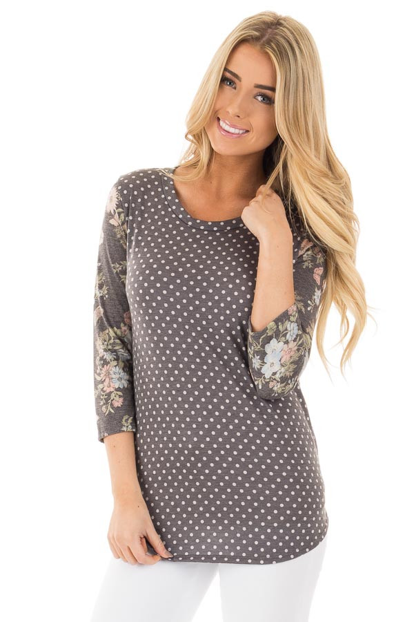 Charcoal Polka Dot Tee with Charcoal Floral Print Sleeves front close up