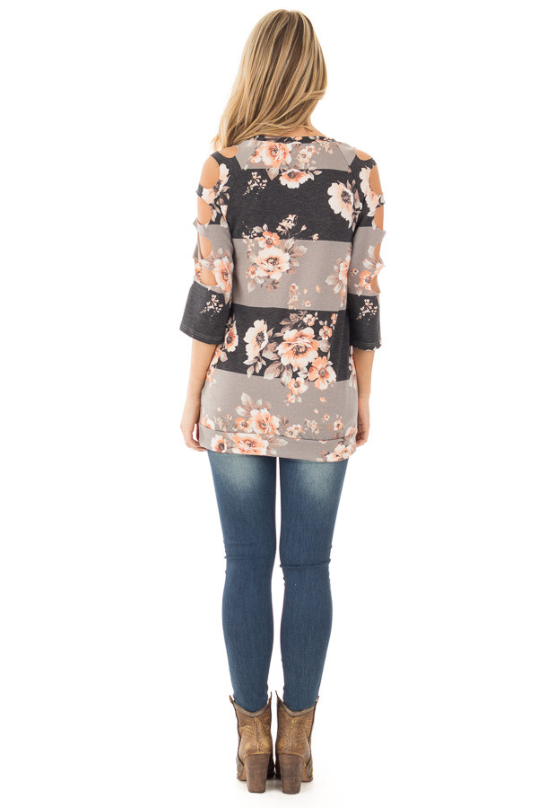Charcoal Striped Floral Print Top with Cut Out Sleeve Detail back full body