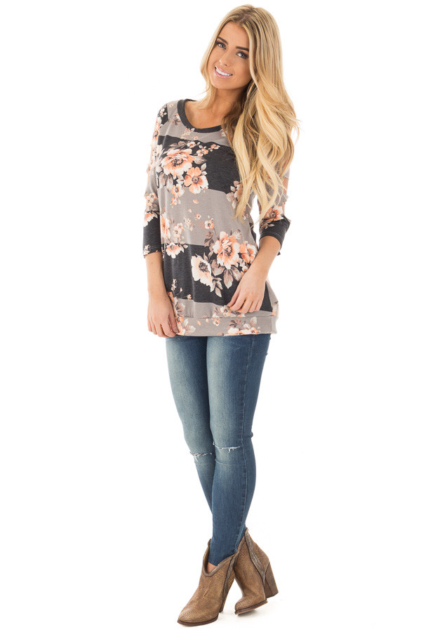 Charcoal Striped Floral Print Top with Cut Out Sleeve Detail front full body