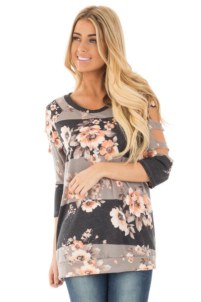 Charcoal Striped Floral Print Top with Cut Out Sleeve Detail front close up
