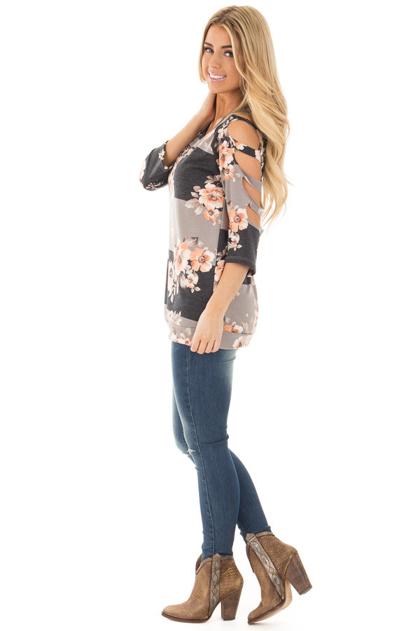 Charcoal Striped Floral Print Top with Cut Out Sleeve Detail side full body