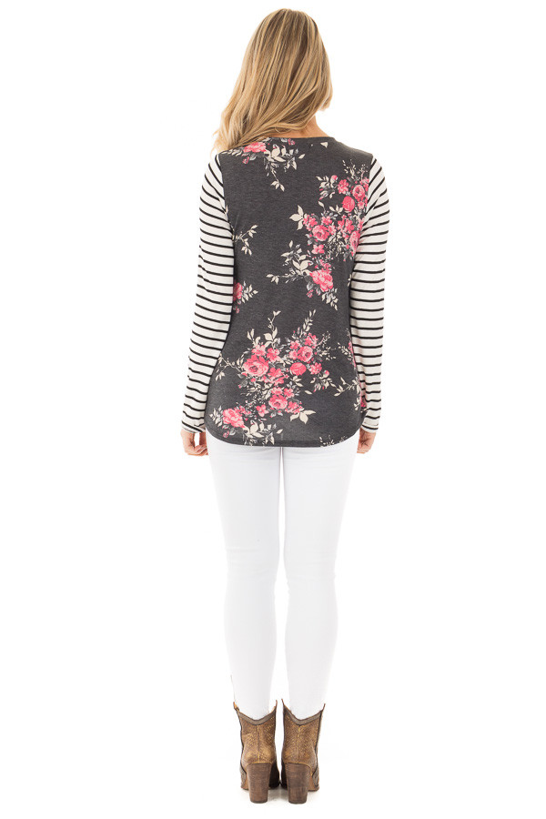 Charcoal and Rose Floral Print Top with Striped Long Sleeves back full body