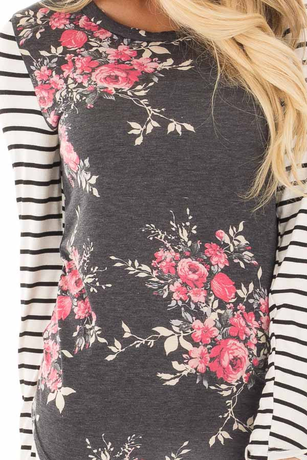 Charcoal and Rose Floral Print Top with Striped Long Sleeves detail