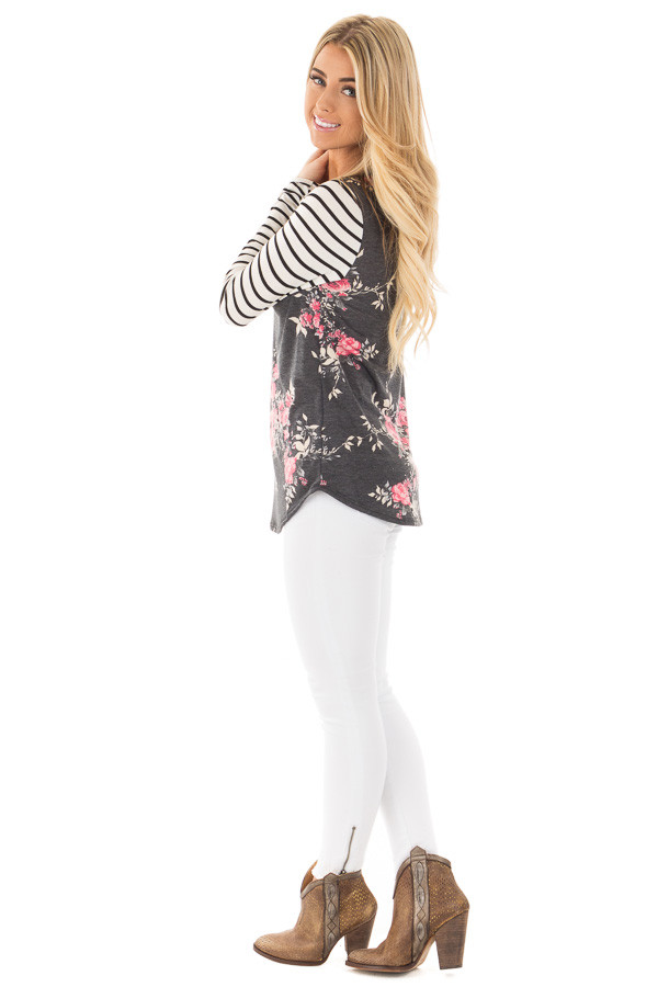 Charcoal and Rose Floral Print Top with Striped Long Sleeves side full body