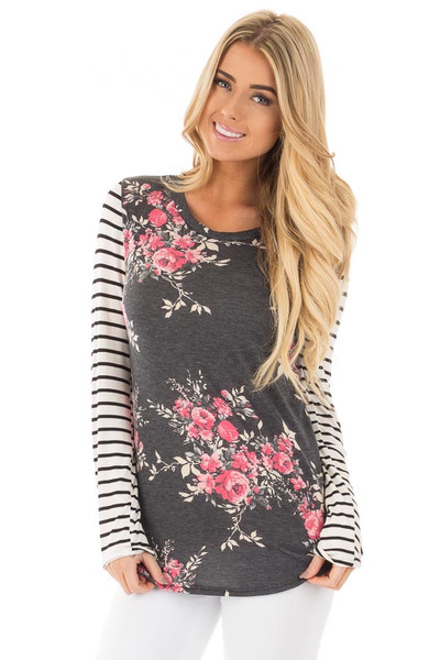 Charcoal and Rose Floral Print Top with Striped Long Sleeves front close up