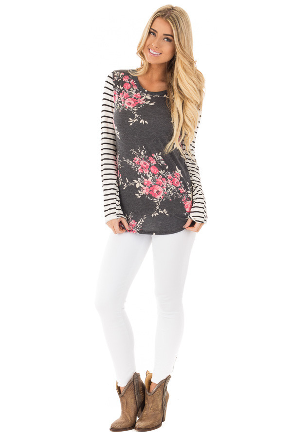 Charcoal and Rose Floral Print Top with Striped Long Sleeves front full body