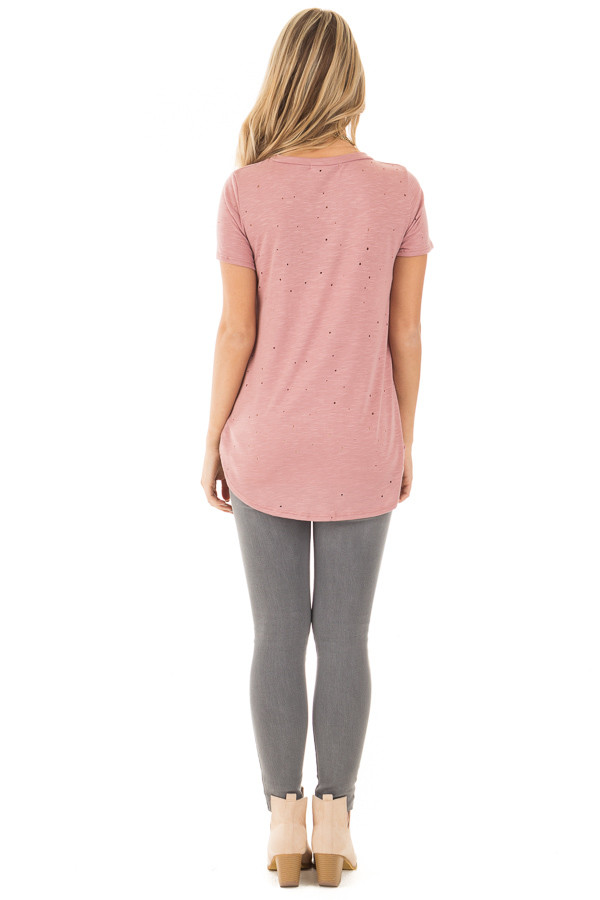 Dusty Rose Basic Tee with Cut Out Hole Details back full body