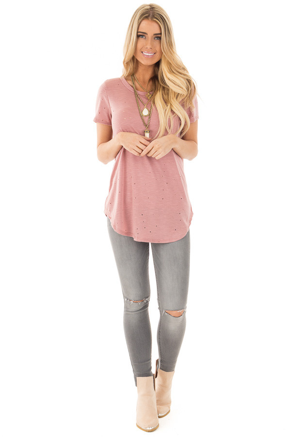 Dusty Rose Basic Tee with Cut Out Hole Details front full body