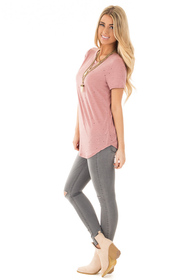 Dusty Rose Basic Tee with Cut Out Hole Details side full body