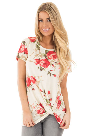 Ivory Tee with Red Rose Floral Print and Twist Detail front close up