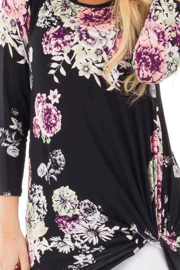 Black Floral Print 3/4 Sleeve Top with Front Twist Detail detail
