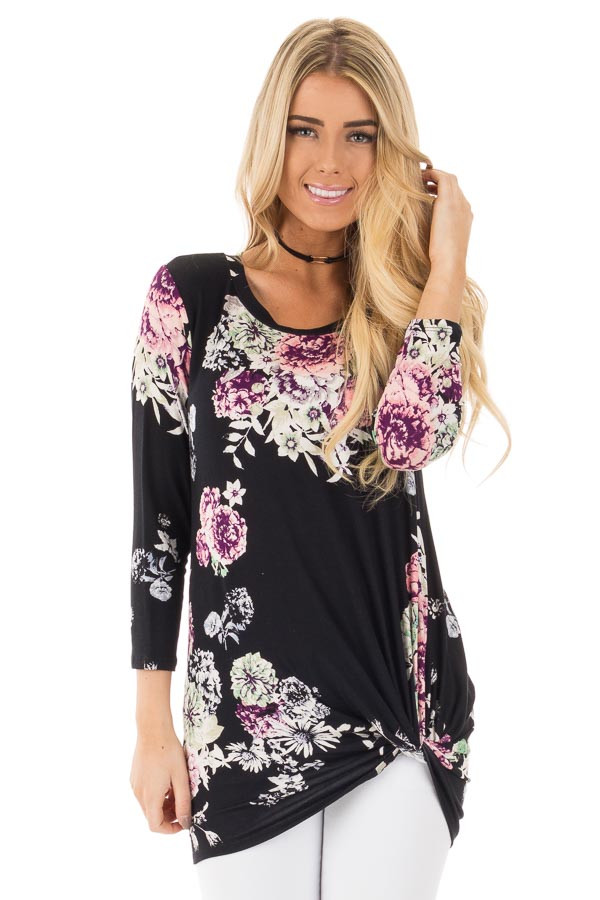 Black Floral Print 3/4 Sleeve Top with Front Twist Detail front close up