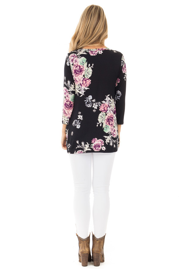Black Floral Print 3/4 Sleeve Top with Front Twist Detail back full body