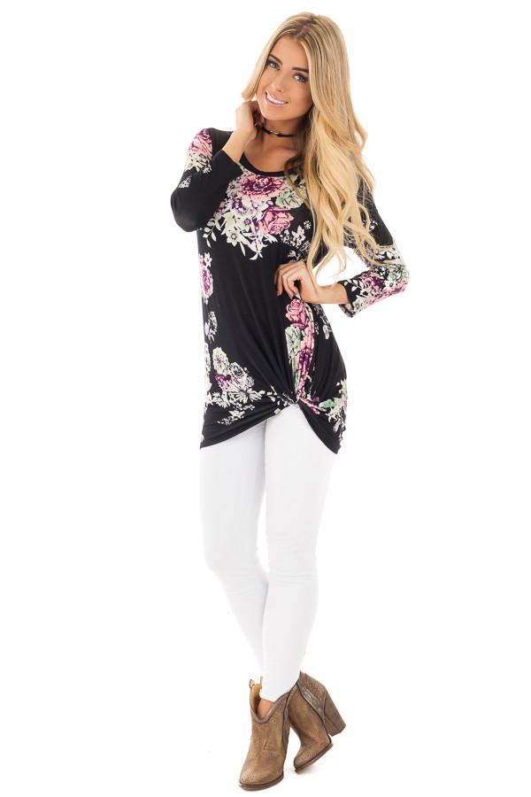 Black Floral Print 3/4 Sleeve Top with Front Twist Detail front full body