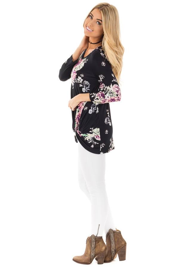 Black Floral Print 3/4 Sleeve Top with Front Twist Detail side full body