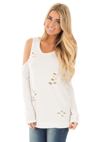 Ivory Cold Shoulder Top with Cut Out Distressed Details front close up