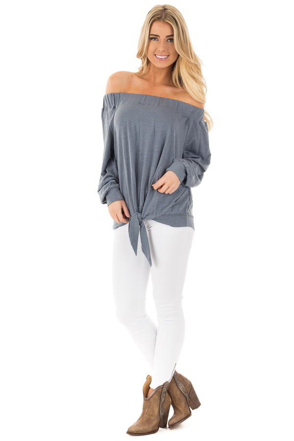 Denim Blue Soft Knit Off Shoulder Top with Front Tie Detail front full body