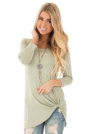 Sage Comfy Jersey Knit 3/4 Sleeve Top with Twist Detail front close up