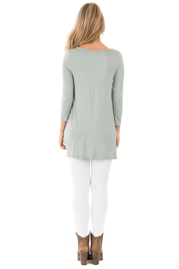 Blue Sage Comfy Jersey Knit 3/4 Sleeve Top with Twist Detail back full body