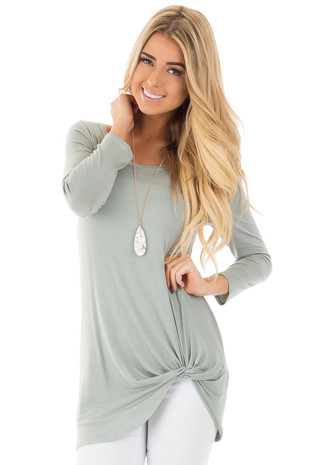 Blue Sage Comfy Jersey Knit 3/4 Sleeve Top with Twist Detail front close up