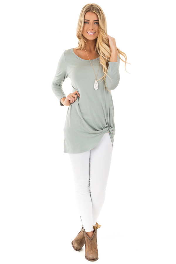 Blue Sage Comfy Jersey Knit 3/4 Sleeve Top with Twist Detail front full body