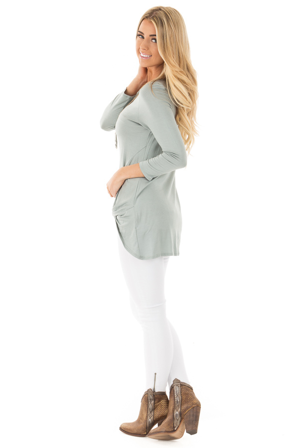 Blue Sage Comfy Jersey Knit 3/4 Sleeve Top with Twist Detail side full body