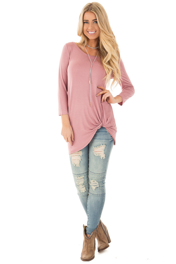 Mauve Comfy Jersey Knit 3/4 Sleeve Top with Twist Detail front full body