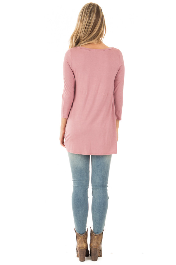 Mauve Comfy Jersey Knit 3/4 Sleeve Top with Twist Detail back full body