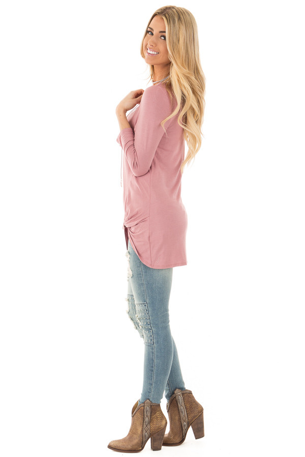 Mauve Comfy Jersey Knit 3/4 Sleeve Top with Twist Detail side full body