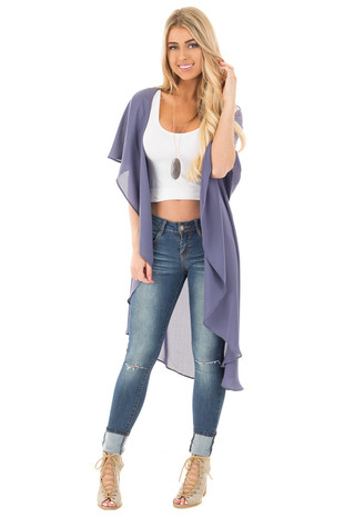Navy Blue Chiffon Long Draped Sleeveless Cardigan front full body