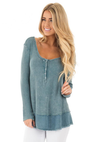 Dusty Teal Mineral Wash Textured Long Sleeve Loose Fit Top front close up