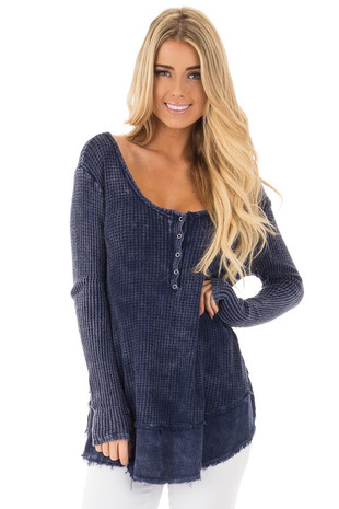 Navy Mineral Wash Textured Long Sleeve Loose Fit Top front close up
