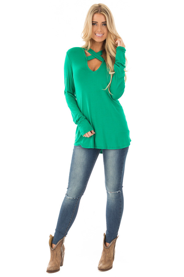 Emerald Green Key Hole Back with Criss Cross V Neck Top front full body