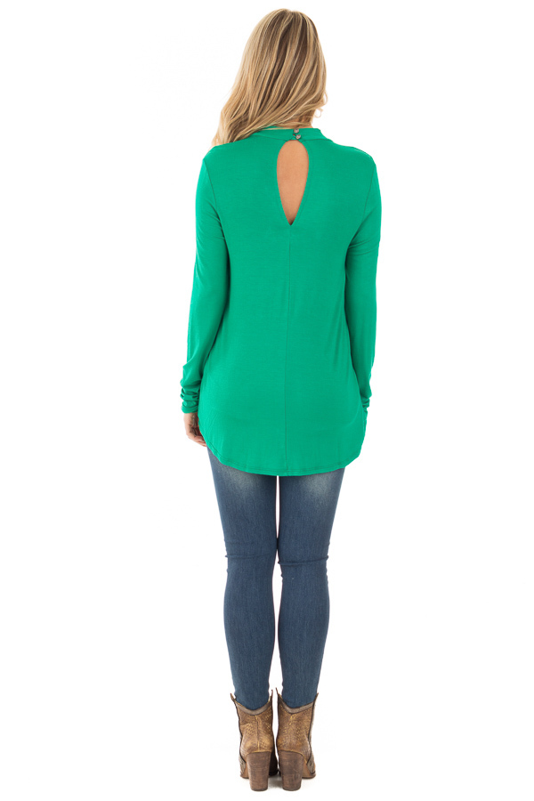 Emerald Green Key Hole Back with Criss Cross V Neck Top back full body