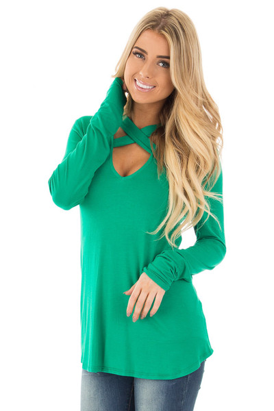 Emerald Green Key Hole Back with Criss Cross V Neck Top front close up